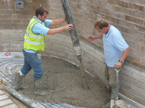 The pouring of the second concrete base
