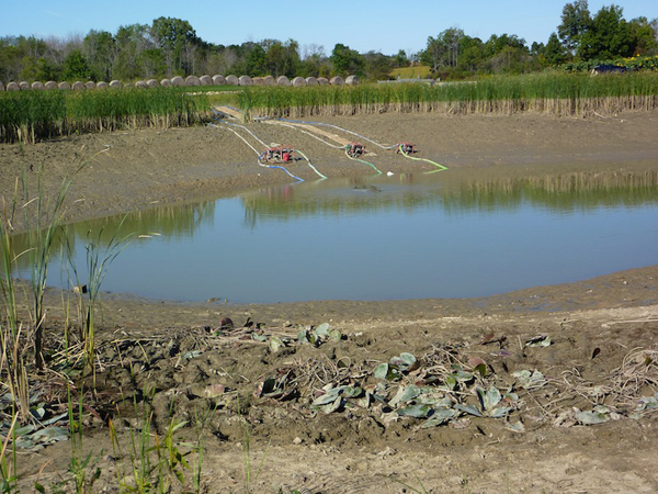 Main mud pond that was being drained
