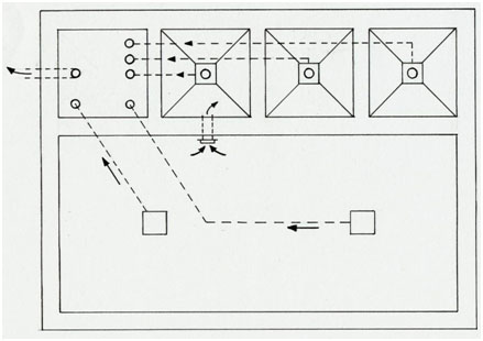 This is a typical layout of a breeder's heated indoor system in Japan.