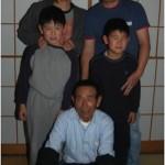 The 'Shintaro' Family. Hiromi and Masaru Saito rear. Sons Kensuke and Kosuke. Shousuke Saito kneeling.
