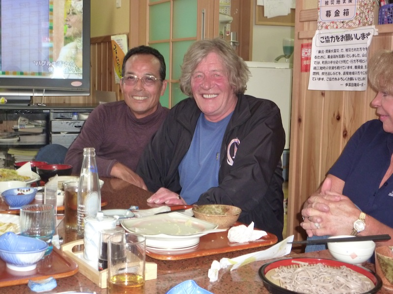 Toshio Sakai and Peter Waddington in restaurant
