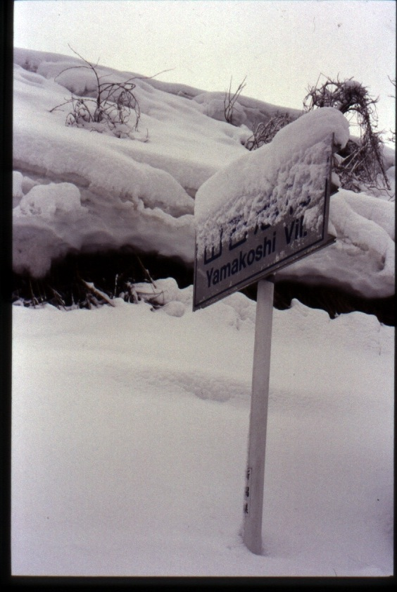 Snow covered sign in Yamakoshi